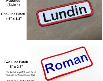 SEW On or IRON On Name Patch (Style 4) - Personalized Patch, Shirt Patch, Uniform Patch, Embroidered Patch, One Line Patch, Two Line Patch