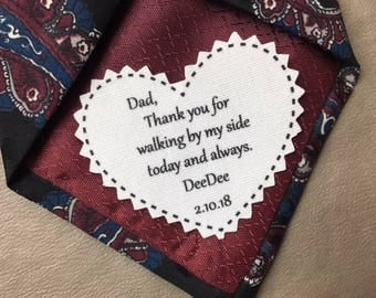 """Ink Printed Skinny Tie WEDDING TIE PATCH - Choose Message, Font - 2.25"""" Heart Shaped, Sew, Iron - Father of the Bride, Father of the Groom"""