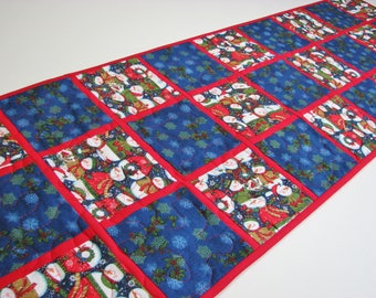"Christmas Quilted Table Runner, Snowman Table Runner, Snowflake Table Mat, Winter Table Mat, Blue Red Patchwork, 13""x48"", Quiltsy Handmade"