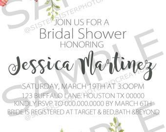 Bridal Shower Invitation Flower Watercolor