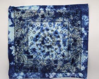 Tie Dye Bandana, Trippy Blue handkerchief, Hippie Fashion