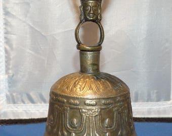 Vintage Tibetan Buddhist Brass Singing Prayer and Ceremonial Worship Bell -- Hand Held --