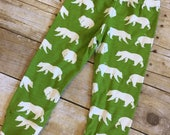 SALE! 18 month Organic leggings - toddler boy leggings - toddler boy pants - bear print baby leggings - gender neutral legging
