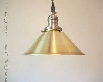 Ceiling Pendant Light  - Hand Aged Brass Finish and Raw Brass Hanging Loft Lamp - Hand Made