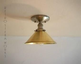 Semi Flush Light  - Hand Aged Brass and Raw Brass Shade Finish Loft Lamp - Hand Made