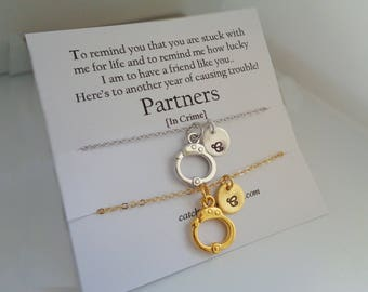 Personalised Handcuff necklaces set of two,set of two necklaces,best friend necklaces,partner in crime necklaces,silver gold necklace card