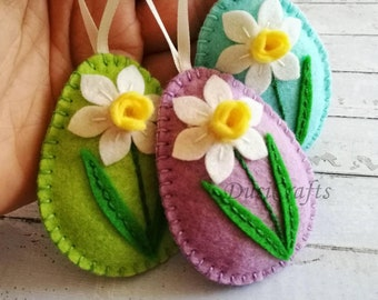 MADE TO ORDER / Felt Easter decoration, felt egg with daffodil flower, Easter flower eggs, Easter ornaments, Spring decor / 1 egg