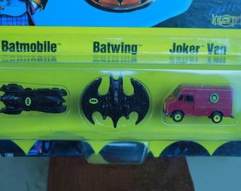 Ertl Batman Micro Set 2498 Batmobile, Batwings, Jokers Van Vintage 1989 New sealed
