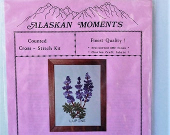 Alaskan Moments Counted Cross Stitch kit #114 Lupine Purple Flowers Finest Quality Vintage 1990
