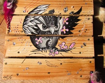 """Painting on wood pallet """"Exotic owl"""""""