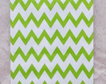 ON SALE - 15% OFF 12 Designer Green Chevron Paper Bags - Additional Items Ship Free!!!