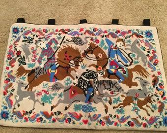 Mid Century Folk Art/Horse Needlepoint Tapastry Wall Hanging 32 x 22 Inches/Wall Decor