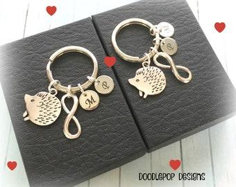 Hedgehog couple gift - Personalised couple keychains - Wedding gift - Hedgehog keyrings - Valentine's gift - Infinity keyrings - UK seller