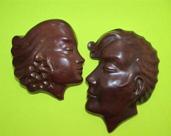 Vintage Rare Alexander Backer ABCO Chalkware Lady Men Wall Plaque Hanging Sculpture Figurine