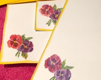Pansy stationery - Hand painted