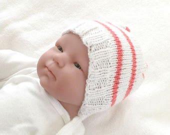 Striped newborn cap, 0 to 3 months hat, babys first hat, baby gift under 20, baby beanie, newborn knit hat, coral pink stripe baby hat,