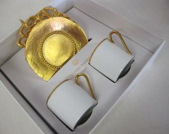 Rambaud Paris Gold Espresso Cups Demitasse French Porcelain Haviland