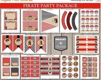 SALE INSTANT DOWNLOAD Printable Pirate Birthday Party Package / 12 Items / Boy's Birthday Party / Pirate Collection/ Item #800