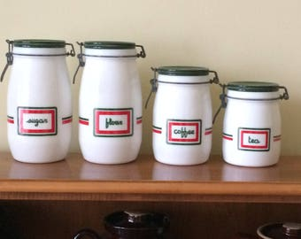 Wheaton Milk Glass Canister Set 4 Pieces Vintage