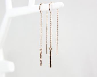 Rose gold hammered threader earrings earrings Rosé C62