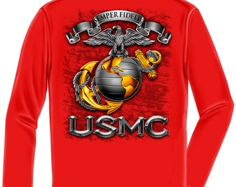 Marine Corps, USMC Long Sleeve Usmc-Semper Fidelis Red SKU: MM118LS