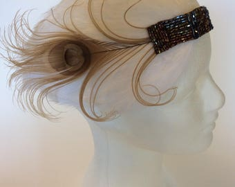 1920s Great Gatsby headpiece, flapper feather headband, gunmetal bronze bridal wedding copper beaded 1920s flapper costume, curled feather