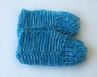SALE Blue Knit Slippers - Ladies Slippers - Knitted Slippers - Adult Knit Slippers - Ladies Blue Slippers - Blue Slippers- Adult Slippers