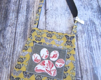 Red and White Butterfly Paw Print Tote