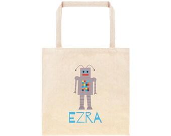 Robot Personalized School Tote Bag // Custom Canvas Robot Book Bag //Robot Custom Tote Bag