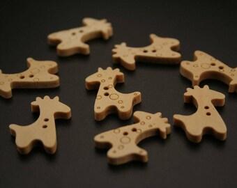 """10 """"Giraffe"""" wooden buttons. (ref:2996)."""