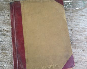 """Vintage Ledger Book 1924-1925 Used Daily Cash Statement Leather and canvas 10 1/2"""" x 8"""" 106 pages"""
