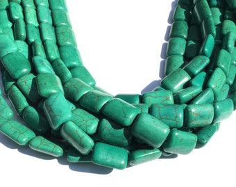 Green Turquoise with Spider Vein Rectangle Gemstone beads Stone #5524