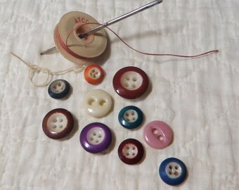 10 China Buttons Multi Colored