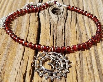 Garnet Necklace and Hill Tribe Silver, Sterling Silver Ohm Symbol Jewelry, Mandala Pendant, January Birthstone, Artisan Jewelry, AAA Garnet