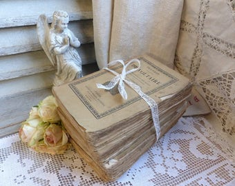 Set of 4 antique french decorative plain paper books. Old beige Shabby french books. Jeanne d'Arc living. Rustic French Nordic shabby decor.