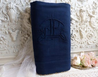 French vintage embroidered monogram linen metis bed sheet. Hand dyed dark blue. Monogram initials JP. Indigo. French country home.