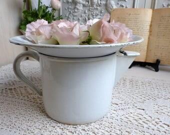 Antique french white enamelware large kitchen strainer with pitcher. White enamel pitcher. Jeanne d'Arc living. Rustic farmhouse