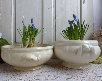 Set of 2 Antique french creamware ironstone soup tureen. Vintage wedding. Rustic farmhouse.Garden decor Indoor bulb pots. Cream footed bowl.