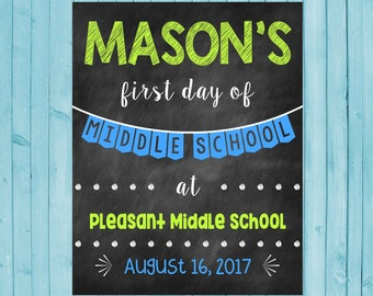 First Day of Middle School Chalkboard Poster Back to School Sign First Day of School Sign