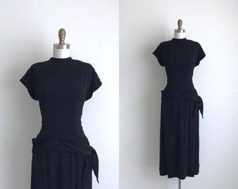 "SALE 40% OFF 1940s Dress / Vintage 1940s Cocktail Dress / Black 2-Piece Rayon Dress 24"" Waist"