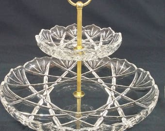 Vintage 2 Tier Mikasa Roxborough Cut 24% Crystal Cake Stand/ Hors d'oeuvre Tray