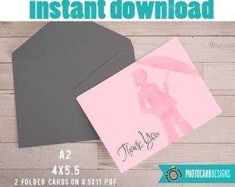 Baby THANK YOU card, Shower Umbrella Thank You, Baby Shower, Watercolor, Baby, Thank You Note, Digital, Printable, Party, INsTANT DOWNLOAD