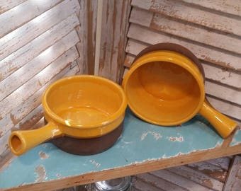 Cartier Soup Bowls with Handle, Terra Cotta Earthenware, Made in Canada, Vintage Glazed Bowls, Set of 2