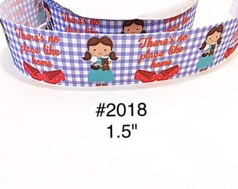 "3 or 5 yard - 1.5"" Wizard Of OZ Dorothy There's No Place like Home on Blue Checker Grosgrain Ribbon Hair bow"