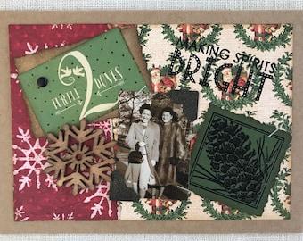 Christmas Card ~ Holiday Card ~ Girlfriends ~ Handmade Card ~ Merry Christmas ~ Collage Card ~ Vintage Christmas Card ~ Christmas