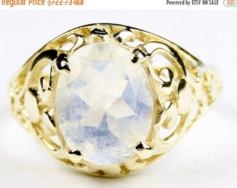 On Sale, 30% Off, Rainbow Moonstone, 18KY Gold Ring R004