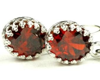On Sale, 30% Off, Garnet CZ, 925 Sterling Silver Crown Bezel Leverback Earrings, SE109