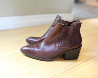 vintage brown leather ankle boots western booties womens 8 1/2