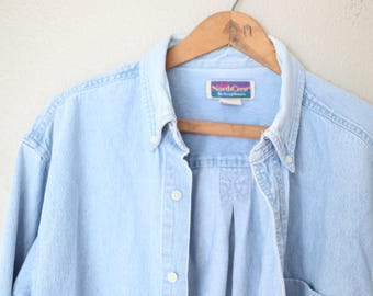 vintage oversized blue chambray industrial work shirt