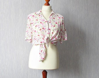 Vintage White Shirt with Butterfly Print Short sleeves Summer Top Oversized  Size XL
